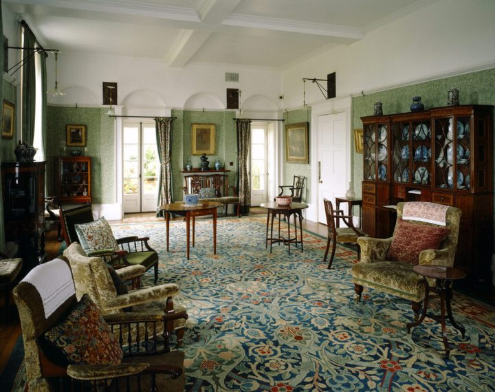 The Drawing Room looking towards the Conservatory at Standen, East Grinstead, West Sussex